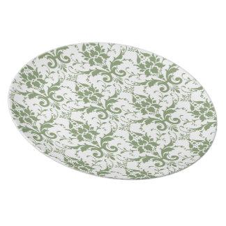 Pale Green Damask Melamine Plate