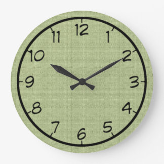 Pale Green Faux Canvas Clock