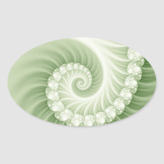 Pale green fossil effect 3D fractal. Oval Sticker