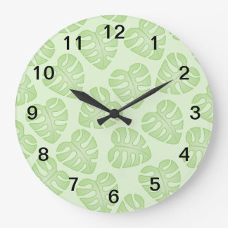 Pale Green Leaf Pattern. Large Clock