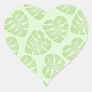 Pale Green Leaf Pattern Heart Sticker