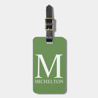 Pale Green Monogrammed Luggage Tag