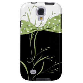 Pale Green Polka Dot Ribbon Swirls on Black Galaxy Galaxy S4 Case