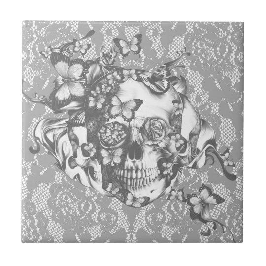 Pale grey butterfly lace skull tile
