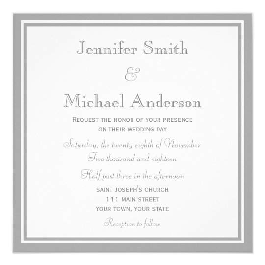Pale Grey Invitation Wedding