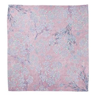 Pale Lavender Branch Flowers on Pastel Pink Bandanas