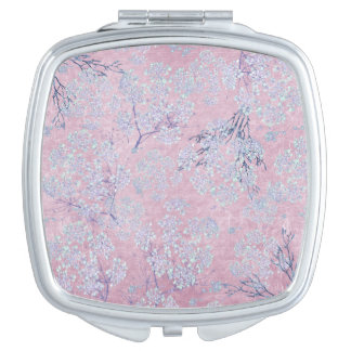 Pale Lavender Flower Branches on Pink Compact Mirrors