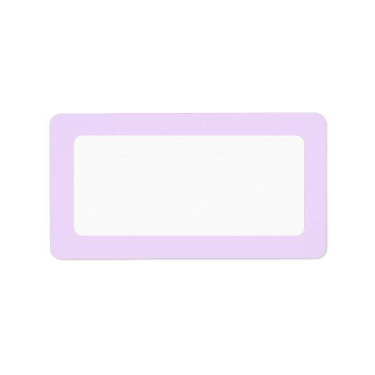 Pale lavender purple solid colour border blank address label