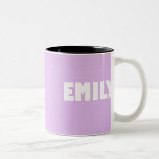Pale lilac shade Emily name Two-Tone Coffee Mug