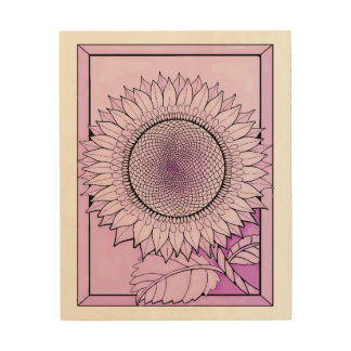Pale Magenta Sunflower Wood Print