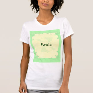 Pale Mint and Cream Scroll and Flower Wedding T-Shirt