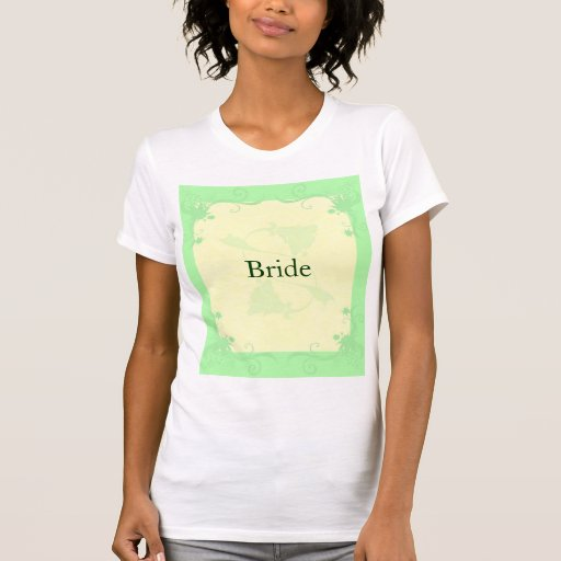 Pale Mint and Cream Scroll and Flower Wedding T-shirts
