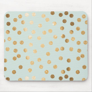 Pale Mint and Gold Glitter City Dots Mouse Mat
