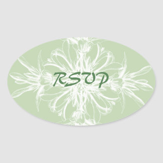 Pale Mint and White Vintage Floral RSVP Oval Sticker