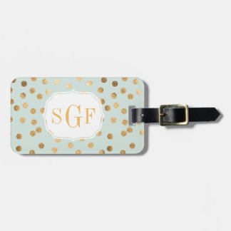 Pale Mint Blue and Gold Glitter City Dots Monogram Luggage Tag