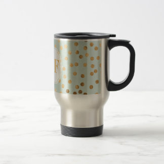 Pale Mint Blue and Gold Glitter City Dots Travel Mug