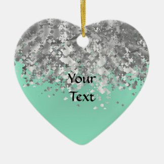 Pale mint green and faux glitter personalized christmas ornament
