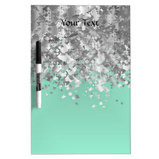 Pale mint green and faux glitter personalized dry erase board