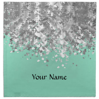 Pale mint green and faux glitter personalized napkin