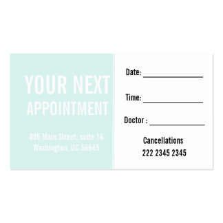 Pale Mint Minimal Attractive  Customer Appointment Pack Of Standard Business Cards