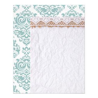 pale mint,vintage damasks,victorian,floral,pattern 11.5 cm x 14 cm flyer