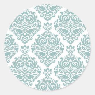 pale mint,vintage damasks,victorian,floral,pattern round sticker