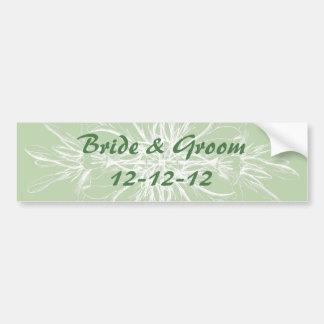 Pale Mint Vintage Floral Wedding Bumper Sticker
