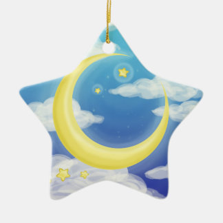 Pale Moon on Blue Christmas Ornament