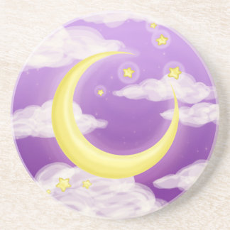 Pale Moon on Purple Coaster