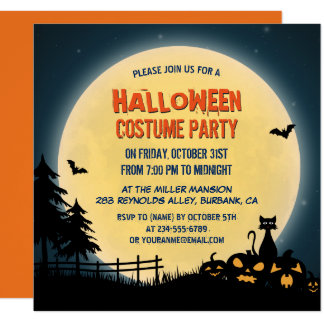 Pale Moonlight Spooky Night Sky Halloween Party 13 Cm X 13 Cm Square Invitation Card