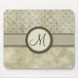 Pale Moss Coin Pattern with Monogram Mouse Pad
