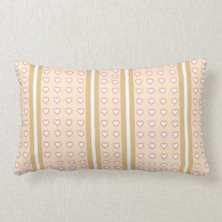 Pale Orange Hearts Stripped Cushion
