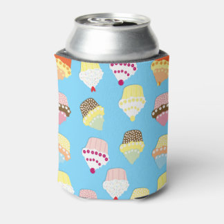 Pale Pastel Blue Cup Cakes Can Cooler