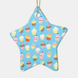 Pale Pastel Blue Cup Cakes Christmas Ornament