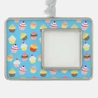 Pale Pastel Blue Cup Cakes Silver Plated Framed Ornament