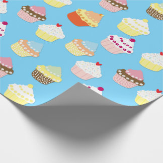 Pale Pastel Blue Cup Cakes Wrapping Paper
