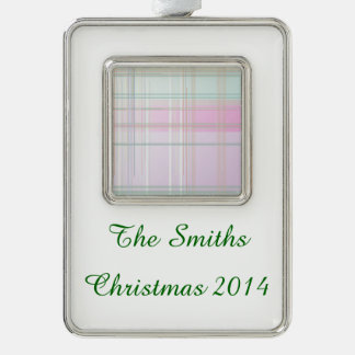 Pale Pastel Plaid Silver Plated Framed Ornament
