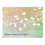 Pale Peach and Green Pastel Grunge RSVP Postcards