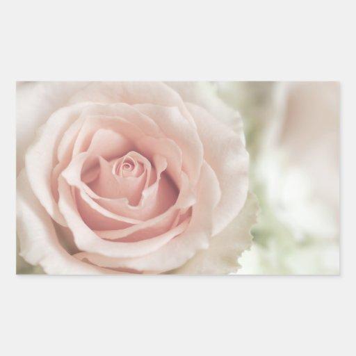 Pale Peach Antique Rose Background Customized Rectangular Stickers
