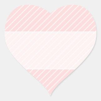 Pale Peach Pink Diagonal Stripes. Heart Stickers