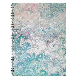 Pale Peacock Water Marbling Notebook