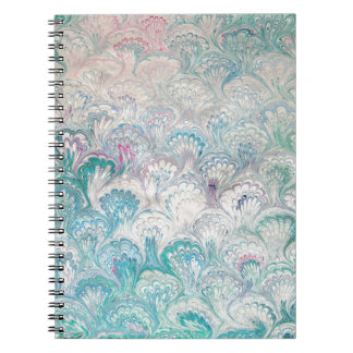 Pale Peacock Water Marbling Notebooks