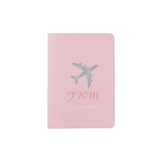 pale pink aeroplane travel feminine passport holder