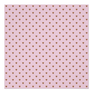 Pale pink and brown heart pattern. poster