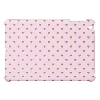 Pale pink and brown heart pern. iPad mini cover