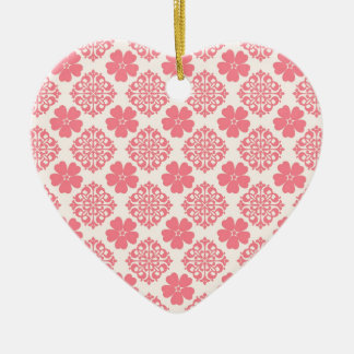 Pale Pink And Cream Floral Ceramic Heart Decoration
