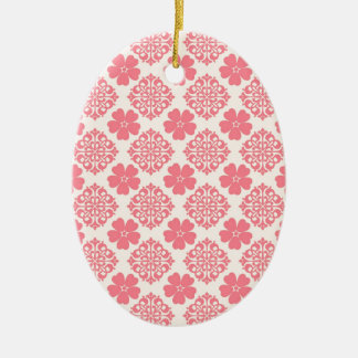 Pale Pink And Cream Floral Ceramic Oval Decoration