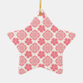 Pale Pink And Cream Floral Ceramic Star Decoration