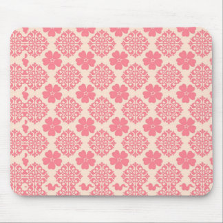 Pale Pink And Cream Floral Mouse Mat