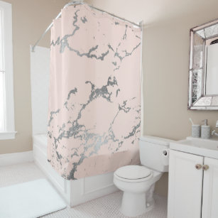 Pale Pink And Silver Marble Shower Curtain
